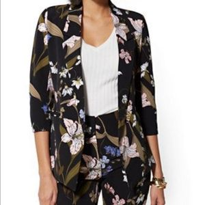 NY and Company black blazer with floral design